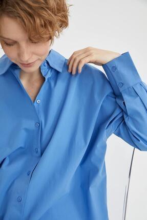 Defacto Kadın Mavi Basic Oversize Pamuklu Gömlek 2