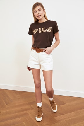 TRENDYOLMİLLA Kahverengi Baskılı Basic Örme T-shirt TWOSS19GH0013 1