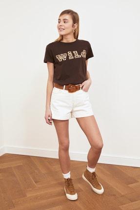 TRENDYOLMİLLA Kahverengi Baskılı Basic Örme T-shirt TWOSS19GH0013 2