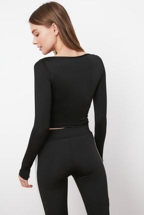 TRENDYOLMİLLA Siyah Bel Detaylı Crop Spor Bluz TWOAW21BZ0156 4