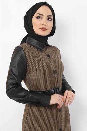 Tesettür Dünyası Kadın Kazayağı Desenli Elbise Tsd9066 Camel 1