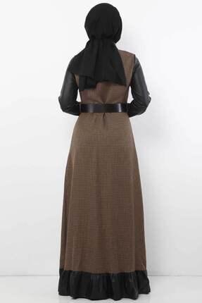 Tesettür Dünyası Kadın Kazayağı Desenli Elbise Tsd9066 Camel 4