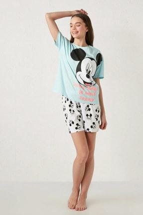 LC Waikiki Mickey Mouse Kadın Mavi G2P Pijama Takımı 3