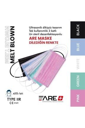 ARE 1 Kutu Beyaz Renk Cerrahi Yüz Maskesi Meltblown Filtreli 3