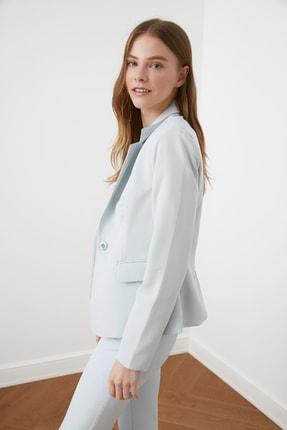 TRENDYOLMİLLA Mavi Düğme Detaylı Blazer Ceket TWOSS21CE0039 3
