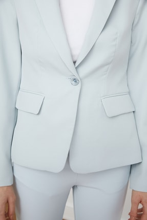 TRENDYOLMİLLA Mavi Düğme Detaylı Blazer Ceket TWOSS21CE0039 4