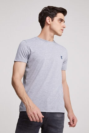 D'S Damat Erkek Gri Düz Twn Slim Fit T-shirt 1