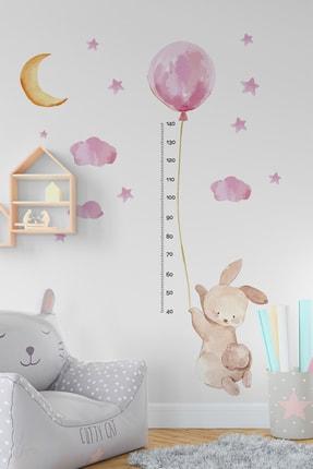 TUGİBU Balonlu Tavşan Boy Ölçer Duvar Sticker Seti 1