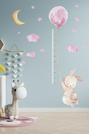 TUGİBU Balonlu Tavşan Boy Ölçer Duvar Sticker Seti 2