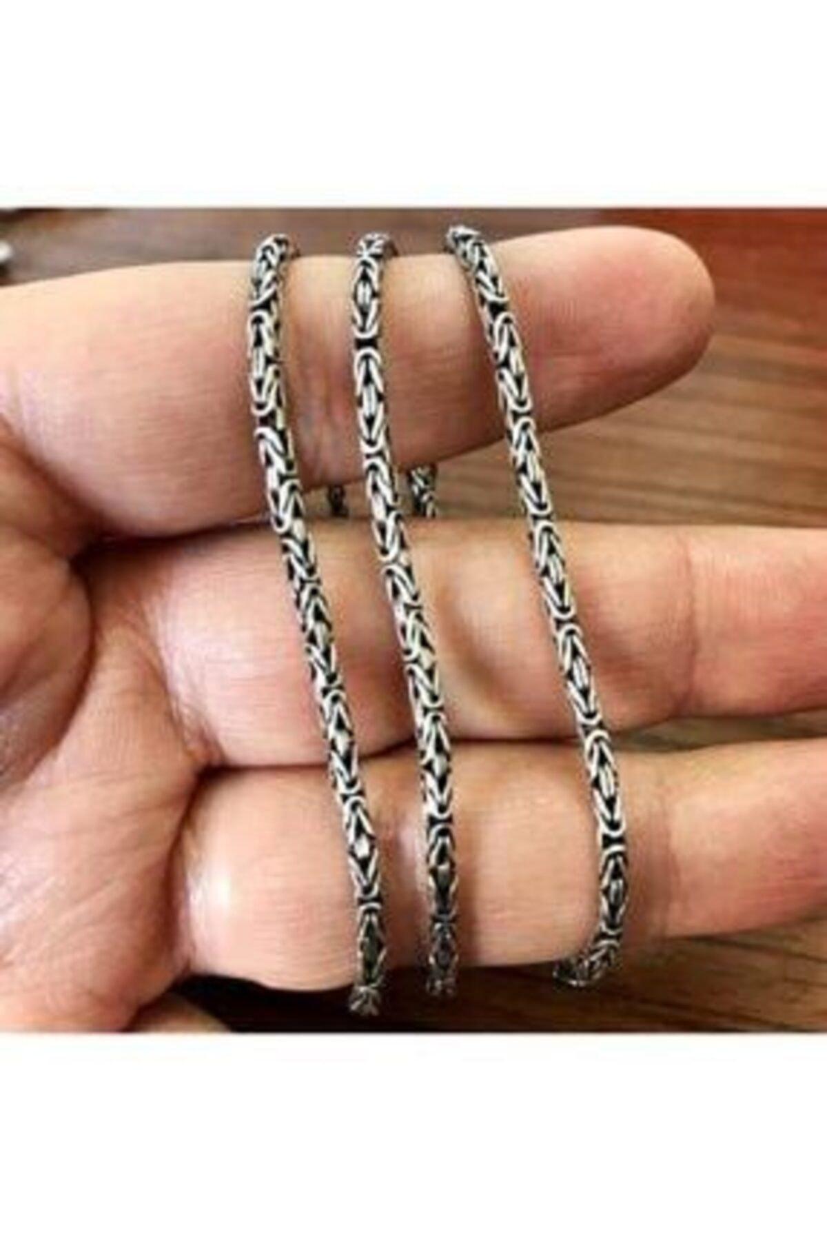 925 Ayar Gümüş Kral Zincir Yuvarlak Kral Model Kolye 2.8 mm