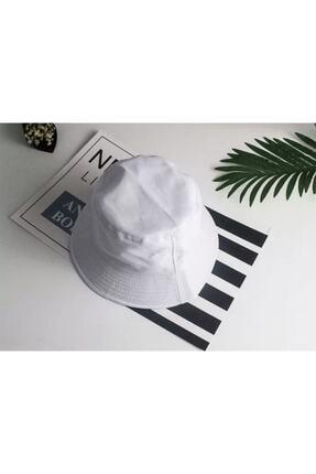 Köstebek Düz Beyaz Kova Şapka Balıkçı Şapka Bucket Hat 1