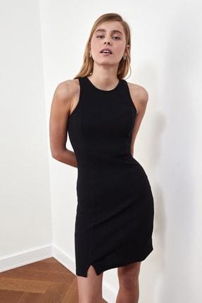 TRENDYOLMİLLA Siyah Fitilli Halter Yaka Örme Elbise TWOSS21EL1487 1