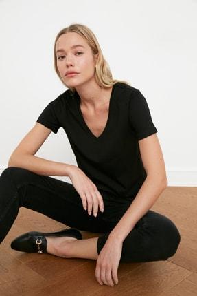 TRENDYOLMİLLA Siyah-Gri %100 Pamuk V Yaka 2'li Paket Örme T-Shirt TWOSS20TS0142 1