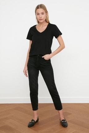 TRENDYOLMİLLA Siyah-Gri %100 Pamuk V Yaka 2'li Paket Örme T-Shirt TWOSS20TS0142 4