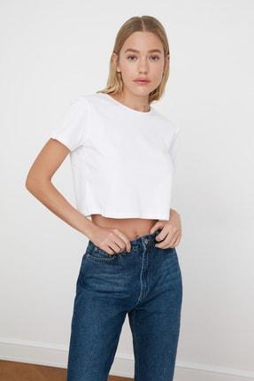 TRENDYOLMİLLA Beyaz %100 Pamuk Bisiklet Yaka Crop Örme T-Shirt TWOSS20TS0135 2