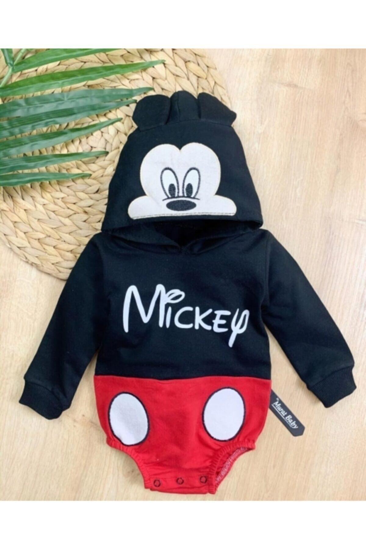 Erkek Bebek Mickey Fare Baskılı Çıtçıtlı Sweatshirt Çıtçıtbody