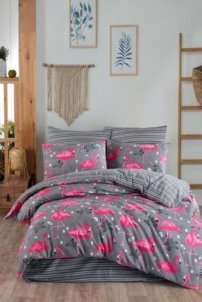 Fushia Flamingo Grey %100 Pamuk Çift Kişilik Nevresim Takımı 0