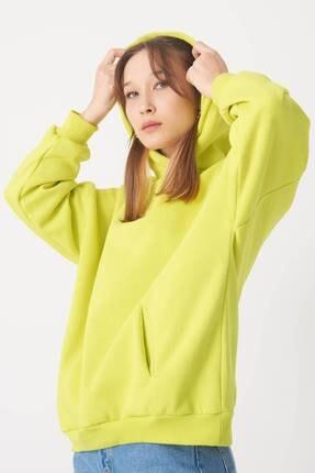 Addax Kadın Fıstık Yeşil Kapüşonlu Sweat S0935 - W12 - W13 ADX-0000022257 1