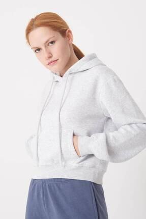 Addax Kadın Kar Melanj Kapüşonlu Kısa Sweat S1015 - J12 ADX-0000022691 2