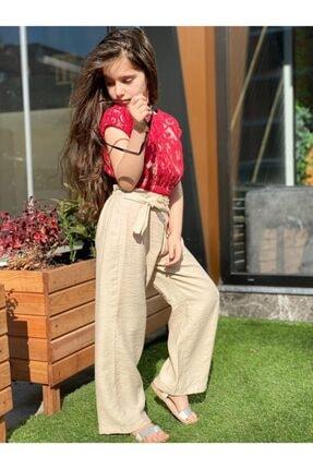 Kız Çocuk Bej Kumaş Pantalon Kırmızı Dantel Detay Üst Takım HCKRMKMSTKM