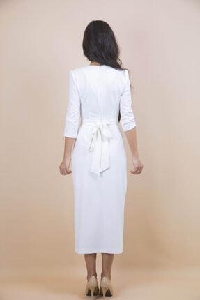 Ayhan Kadın Beyaz Kruvaze Bağlamalı Elbise 3