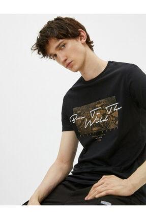Koton Erkek Siyah Pamuklu Bisiklet Yaka Kısa Kollu Baskılı T-shirt 0