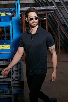 Sateen Men Erkek Siyah Polo Yaka Nubuk T-Shirt 1