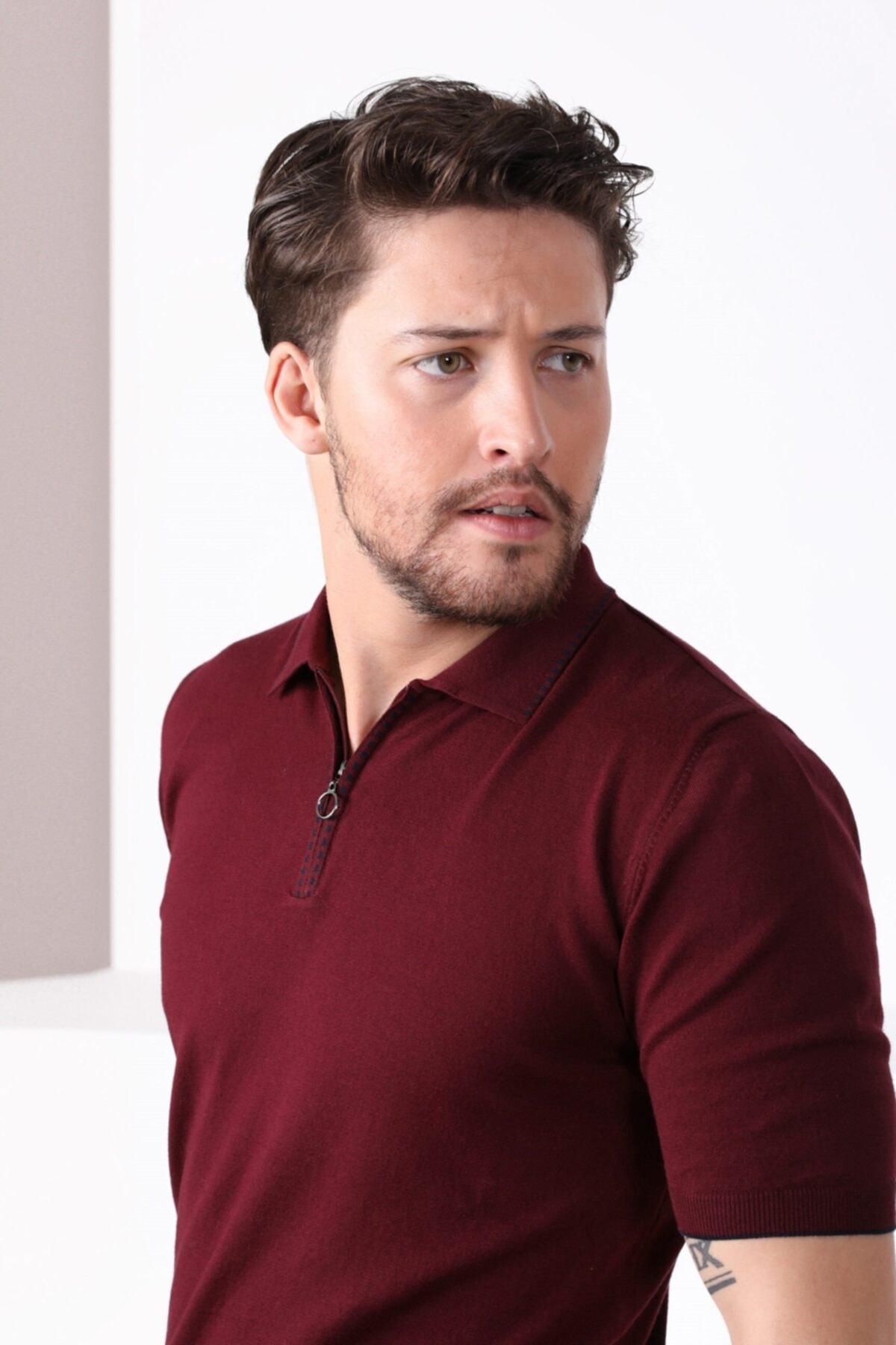 Erkek Bordo Polo Yaka Fermuarlı Pamuk Triko T-Shirt
