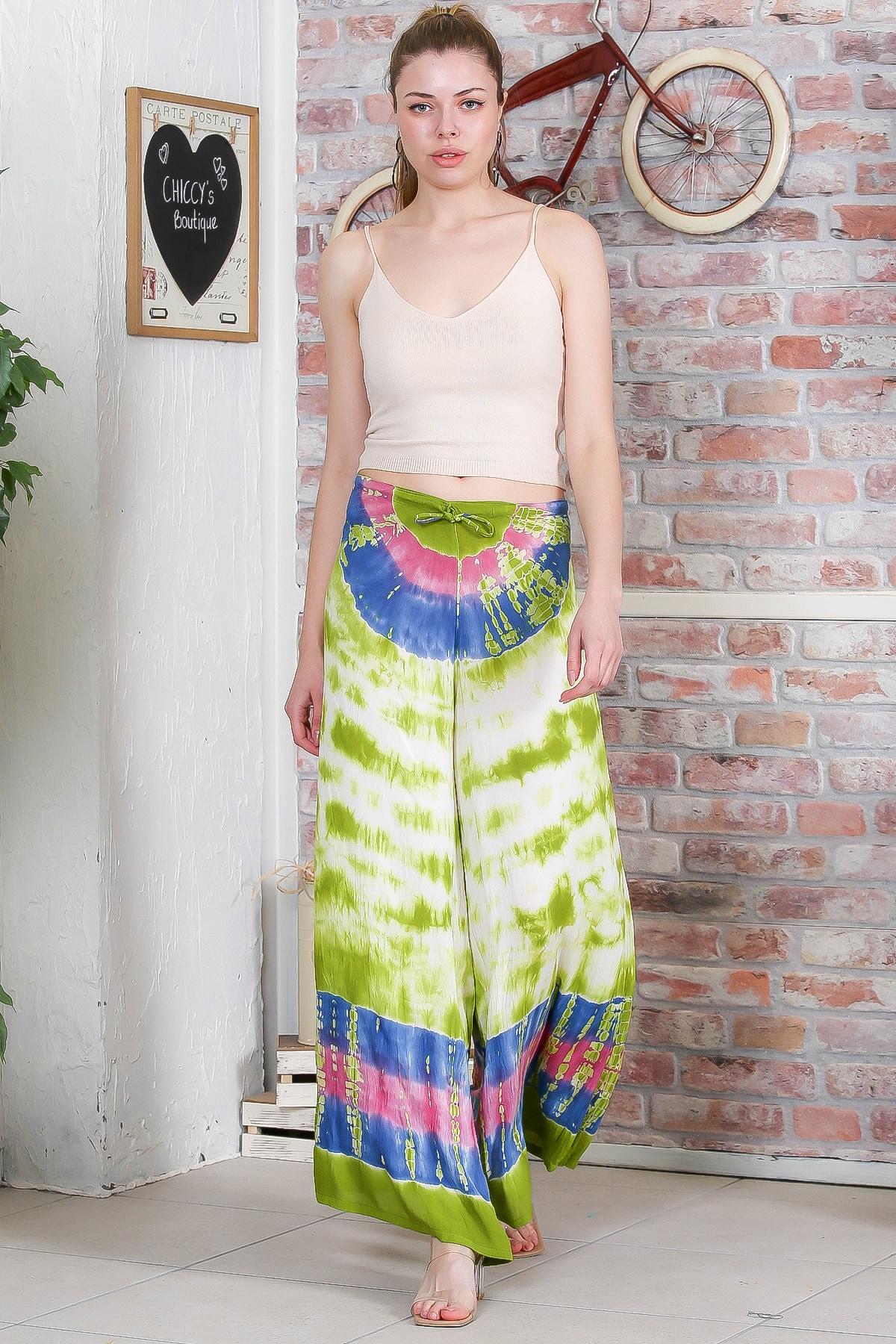 Chiccy Kadın Yeşil Batik Desenli Bol Paçalı Dokuma Pantolon M10060000PN98899 2