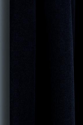 Belle Cose Keten Görünümlü Blackout Karartma Termal Lacivert Fon Perde Tek Kanat 0