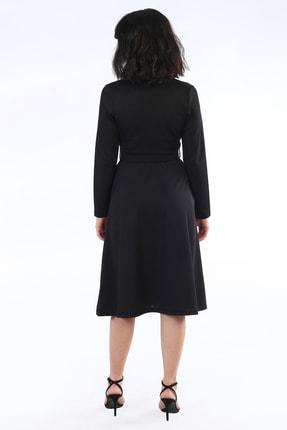 Be Happy Woman Kadın Siyah Kemerli Kruaze Yaka Midi Boy Elbise 2