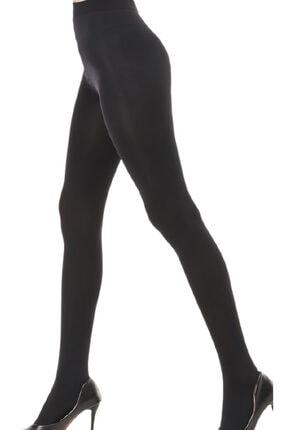 QCalze Kadın Siyah Külotlu Opak Mikro 80 Denye Çorap 2