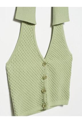 Dilvin Kadın Yeşil V Yaka Arkası Açık Polo Yaka Yelek 2