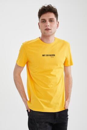 Defacto Erkek Sarı Slim Fit Bisiklet Yaka Baskılı T-Shirt 4
