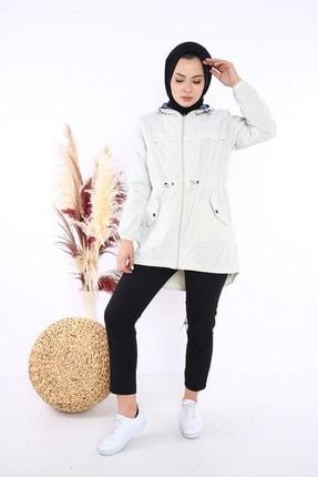 Escetic Kadın Ekru Yağmurluk Ceket 4