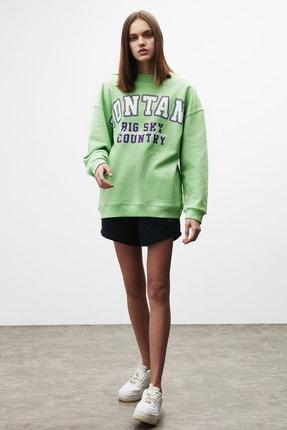 GRIMELANGE RAMONA Kadın Yeşil Önü Baskılı Sweatshirt 4