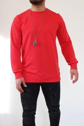 Erkek Sweatshirt Nar Çiçeği Sweatshirt Düz Renk Sweat Shirt Bisiklet Yaka Sweatshirt SWEATSHİRT