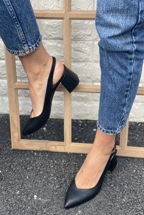 İnan Ayakkabı Sivri Burun Arkası Açık Topuklu Ayakkabı 0