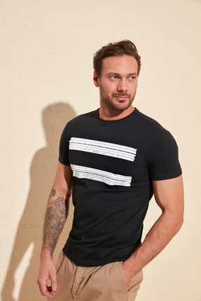TRENDYOL MAN Siyah Erkek Baskılı Slim Fit T-Shirt TMNSS20TS0092 0