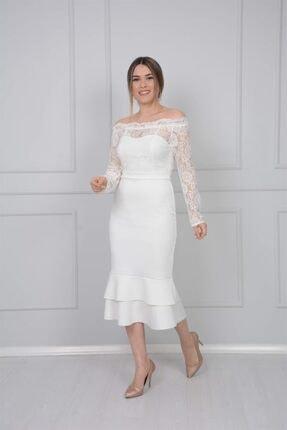 giyimmasalı Üst Güpür Alt Scuba Eteği Volanlı Elbise - Beyaz 1
