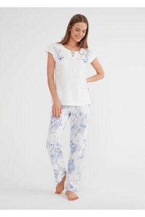Suwen Kadın Mavi Alice Pijama Takımı 0
