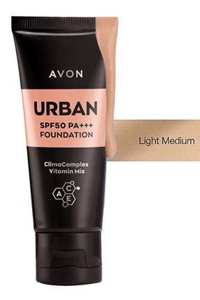 Avon Urban Foundation Spf50 Pa+++ 30 ml. Light Medium 1