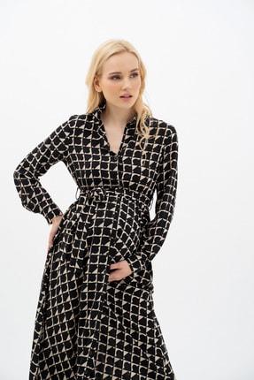 MUMELLA Kadın Krem Siyah Geometrik Şekilli Elbise 3