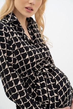 MUMELLA Kadın Krem Siyah Geometrik Şekilli Elbise 4