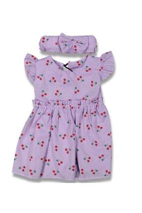 leafstore Kız Çocuk Mor Kiraz Desenli Elbise 0