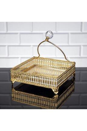 Oyks Inci Kare Peçetelik Gold Renk Peçete Uçurtmaz 0