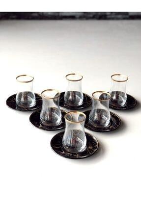 GÜRCÜGLASS Siyah Mermer 12 Prç Çay Seti 0