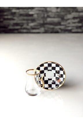 GÜRCÜGLASS Damalı Çay Seti Kulplu 12 Prç 2