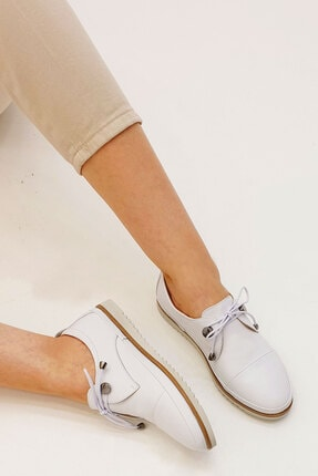 Marjin Kadın Beyaz Hakiki Deri Comfort Ayakkabı Demas 2