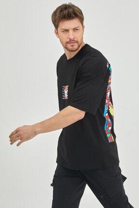 XHAN Siyah Önür & Arkası Baskılı Oversize T-shirt 1kxe1-44629-02 3